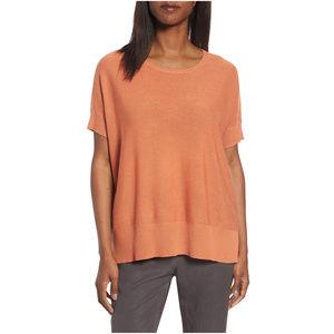 Orange Sleek Tencel Merino Wool Boxy Sweater M